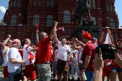 Πολωνικοί οπαδοί ποδοσφαίρου στην πλατεία Manezhnaya κατά τη διάρκεια του Παγκόσμιου Κυπέλλου Παγκόσμιο Κύπελλο της FIFA, Mundial Στοκ Φωτογραφία