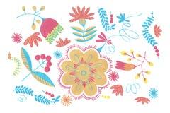 Πολωνικό βοτανικό σχέδιο με το πορτοκαλί ντεκόρ λουλουδιών, παραδοσιακό πολωνικό λαϊκό άνευ ραφής σχέδιο με τις floral απεικονίσε απεικόνιση αποθεμάτων
