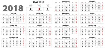 Πολωνικό ημερολόγιο για το 2018 Στοκ εικόνα με δικαίωμα ελεύθερης χρήσης