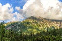 Πολωνικό θερινό τοπίο βουνών Tatra με το μπλε ουρανό και τα άσπρα σύννεφα Στοκ Εικόνα