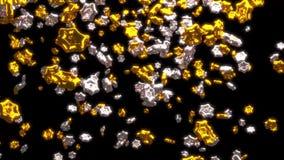 Πολύς μεγάλος Chubby χρυσός και ασημώνει τη βροχή έξι αστεριών Branchs διανυσματική απεικόνιση