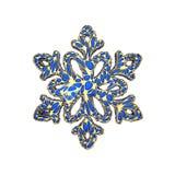 Πολύτιμο κομψό snowflake που απομονώνεται στο άσπρο υπόβαθρο Εορταστικό στοιχείο Χριστουγέννων στο δικτυωτό ύφος κοσμήματος τρισδ ελεύθερη απεικόνιση δικαιώματος