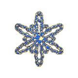 Πολύτιμο κομψό snowflake που απομονώνεται στο άσπρο υπόβαθρο Εορταστικό στοιχείο Χριστουγέννων στο δικτυωτό ύφος κοσμήματος τρισδ διανυσματική απεικόνιση