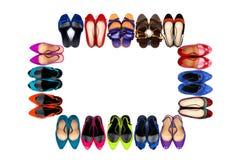 Πολύχρωμα θηλυκά παπούτσια πλαίσιο-1 Στοκ φωτογραφία με δικαίωμα ελεύθερης χρήσης