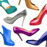 Πολύχρωμα θηλυκά παπούτσια Στοκ Φωτογραφίες