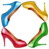 Πολύχρωμα θηλυκά παπούτσια Στοκ φωτογραφία με δικαίωμα ελεύθερης χρήσης