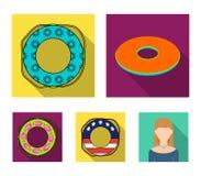 Πολύχρωμα κολυμπώντας επίπεδα εικονίδια κύκλων στην καθορισμένη συλλογή για το σχέδιο Διαφορετικός Ιστός αποθεμάτων συμβόλων life Στοκ εικόνα με δικαίωμα ελεύθερης χρήσης