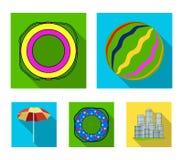 Πολύχρωμα κολυμπώντας επίπεδα εικονίδια κύκλων στην καθορισμένη συλλογή για το σχέδιο Διαφορετικός Ιστός αποθεμάτων συμβόλων life Στοκ Φωτογραφία