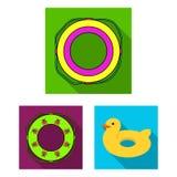 Πολύχρωμα κολυμπώντας επίπεδα εικονίδια κύκλων στην καθορισμένη συλλογή για το σχέδιο Διαφορετικός Ιστός αποθεμάτων συμβόλων life Στοκ Εικόνες