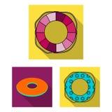 Πολύχρωμα κολυμπώντας επίπεδα εικονίδια κύκλων στην καθορισμένη συλλογή για το σχέδιο Διαφορετικός Ιστός αποθεμάτων συμβόλων life Στοκ φωτογραφίες με δικαίωμα ελεύθερης χρήσης