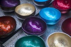 Πολύχρωμα κύπελλα του κοχυλιού καρύδων με τις πτώσεις βροχής Στοκ Εικόνες