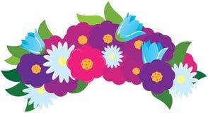 Πολύχρωμα λουλούδια κινούμενων σχεδίων διανυσματική απεικόνιση