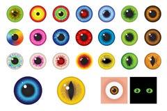 Πολύχρωμα μάτια - στοιχεία σχεδίου. Διάνυσμα Στοκ Εικόνες
