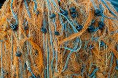 Πολύχρωμα τουρκικά δίχτια του ψαρέματος. Στοκ Φωτογραφίες