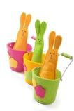 Πολύχρωμα bunnies Πάσχας (κάθετη όψη) Στοκ Εικόνες