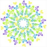 Πολύχρωμες πεταλούδες Κυκλική διακόσμηση Στοκ εικόνα με δικαίωμα ελεύθερης χρήσης