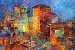 Πολύχρωμη ελαιογραφία των ζωηρόχρωμων χαριτωμένων σπιτιών διανυσματική απεικόνιση