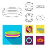 Πολύχρωμη κολυμπώντας περίληψη κύκλων, επίπεδα εικονίδια στην καθορισμένη συλλογή για το σχέδιο Διαφορετικό απόθεμα συμβόλων life Στοκ εικόνες με δικαίωμα ελεύθερης χρήσης