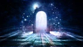 Πολύχρωμη πόρτα σε μια άλλη διάσταση ελεύθερη απεικόνιση δικαιώματος