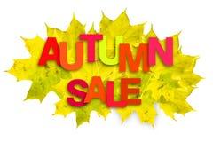 Πολύχρωμη πώληση φθινοπώρου επιγραφής σε ένα υπόβαθρο των φύλλων φθινοπώρου σε ένα άσπρο υπόβαθρο απομονωμένος Επιχειρησιακές πωλ στοκ εικόνα