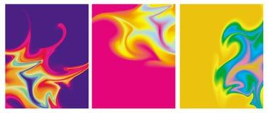 Πολύχρωμοι ανώμαλοι στρόβιλοι σε ένα μπλε, κίτρινο και ρόδινο υπόβαθρο ελεύθερη απεικόνιση δικαιώματος