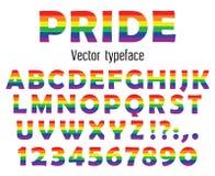 Πολύχρωμος γιορτάστε το χαρακτήρα υπερηφάνειας Ζωηρόχρωμοι επιστολές και αριθμοί ABC που απομονώνονται στο λευκό επίσης corel σύρ Στοκ εικόνα με δικαίωμα ελεύθερης χρήσης
