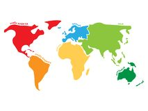 Πολύχρωμος παγκόσμιος χάρτης που διαιρείται σε έξι ηπείρους στα διαφορετικά χρώματα - Βόρεια Αμερική, Νότια Αμερική, Αφρική, Ευρώ ελεύθερη απεικόνιση δικαιώματος