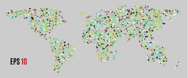 Πολύχρωμος παγκόσμιος χάρτης σημείων Αφηρημένος παγκόσμιος χάρτης εικονοκυττάρου με τις τετραγωνικές μορφές για infographic Διανυ Στοκ Εικόνες