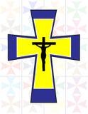 Πολύχρωμος σταυρός με το μαύρο Ιησού Cross στο Transoarency Colo Στοκ Φωτογραφία