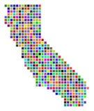 Πολύχρωμος χάρτης Καλιφόρνιας σημείων διανυσματική απεικόνιση