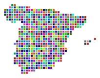 Πολύχρωμος χάρτης της Ισπανίας σημείων απεικόνιση αποθεμάτων