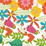Πολύχρωμο σχέδιο διακοσμήσεων φύλλων κλάδων άνοιξη λουλουδιών διανυσματική απεικόνιση