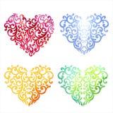 Πολύχρωμο σύνολο καρδιάς watercolor Σχέδιο FO άνοιξης ή καλοκαιριού Στοκ φωτογραφίες με δικαίωμα ελεύθερης χρήσης