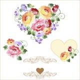Πολύχρωμο σύνολο καρδιών με τα τριαντάφυλλα και τα λουλούδια Άνοιξη ή summe Στοκ Εικόνες