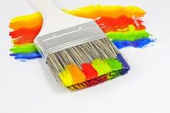πολύχρωμο χρώμα βουρτσών Στοκ Φωτογραφίες