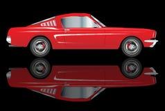 Πολύ γρήγορα παλαιό κλασικό κόκκινο αυτοκίνητο ύφους με την αντανάκλαση Στοκ Εικόνες