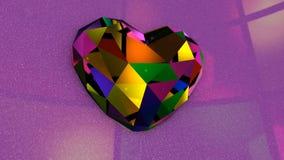Πολύ ζωηρόχρωμη διαμορφωμένη διαμάντι καρδιά με τα τρέμοντας φω'τα απόθεμα βίντεο