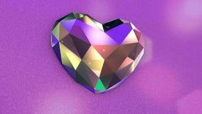 Πολύ ζωηρόχρωμη τρέμοντας διαμορφωμένη διαμάντι καρδιά με τα τρέμοντας φω'τα απόθεμα βίντεο