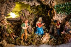 Πολύ παλαιά σκηνή Nativity Χριστουγέννων στοκ φωτογραφίες