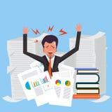 Πολύ πολυάσχολος επιχειρηματίας που εργάζεται σκληρά στο γραφείο της στην αρχή ελεύθερη απεικόνιση δικαιώματος