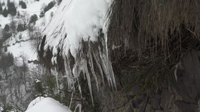 Πολύ στενή επάνω άποψη των παγακιών του πάγου με τις μειωμένες πτώσεις φιλμ μικρού μήκους