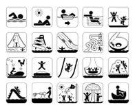 Πολύ χρήσιμο και χρησιμοποιήσιμο σύνολο εικονιδίων για τα πάρκα και την κολύμβηση aqua Στοκ Εικόνες