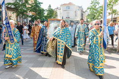 Πομπή εικονιδίων στο άνοιγμα του φεστιβάλ της ορθόδοξης μουσικής σε Pomorie, Βουλγαρία Στοκ φωτογραφία με δικαίωμα ελεύθερης χρήσης