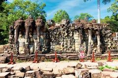 Πομπή των ελεφάντων στο πεζούλι ελεφάντων, Angkor Thom, Καμπότζη Στοκ φωτογραφίες με δικαίωμα ελεύθερης χρήσης