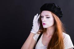 Πονοκέφαλος κοριτσιών Mime Στοκ εικόνα με δικαίωμα ελεύθερης χρήσης