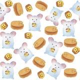 Ποντίκια Watercolor και άνευ ραφής σχέδιο τυριών Στοκ Εικόνα