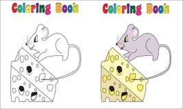 Ποντίκι και τυρί βιβλίων χρωματισμού Στοκ εικόνα με δικαίωμα ελεύθερης χρήσης