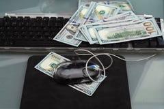 Ποντίκι και χρήματα υπολογιστών Στοκ εικόνα με δικαίωμα ελεύθερης χρήσης
