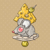 Ποντίκι κινούμενων σχεδίων με το τυρί και τις ελιές Απεικόνιση κινούμενων σχεδίων στο κωμικό καθιερώνον τη μόδα ύφος Απεικόνιση αποθεμάτων