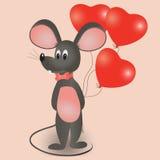 Ποντίκι με τα μπαλόνια υπό μορφή καρδιάς διανυσματική απεικόνιση